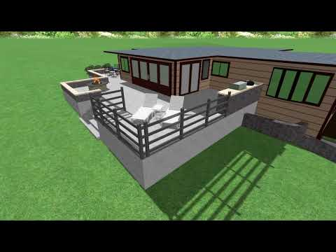 Raised Concrete Patio and Seat Wall 3D Rendering