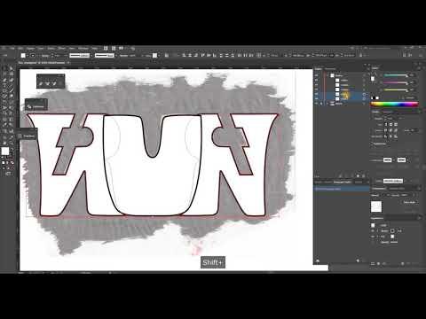 'Run' Ambigram part - 01 - drawing process in Adobe Illustrator