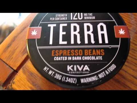 Cannabis edible review : Kiva TERRA Bites espresso beans 120 mg