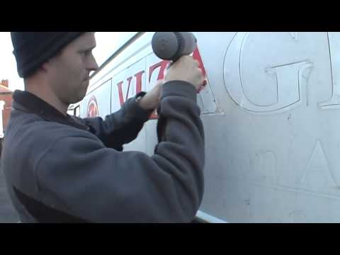 How to remove vinyl lettering from a van