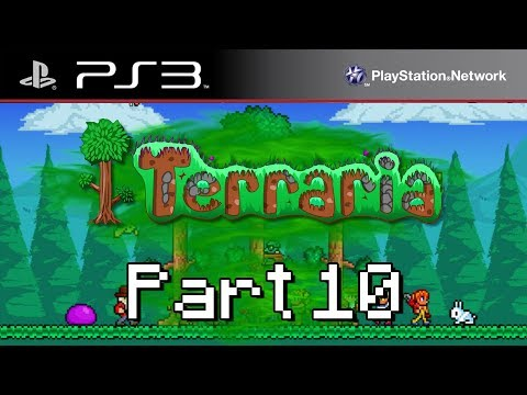 Lets Play Terraria - Part 10 - Lots of Demonite Ore ( PS3 Edition )