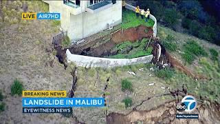 Ground crumbles around Malibu home amid active landslide   ABC7