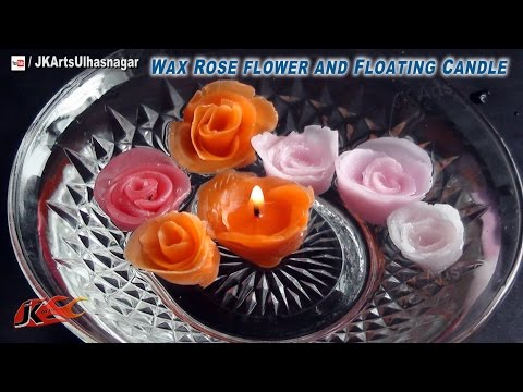 DIY Wax Rose flower and Floating Candle | How to make without mold | JK Arts 696