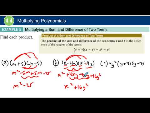 4.4 Example 5 Multiplying a Sum and Difference of Two Squares