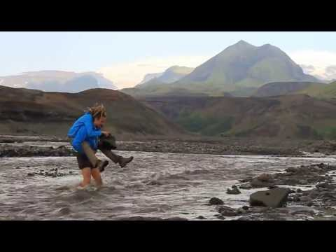 River crossing on Laugavegur trail in Iceland
