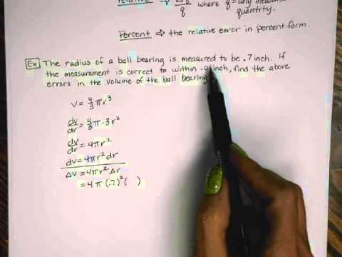 Calculus - Differentials with Relative and Percent Error