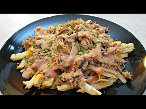 Pulled Pork French Fries with Melted Cheese and Spicy Fry Sauce - PoorMansGourmet