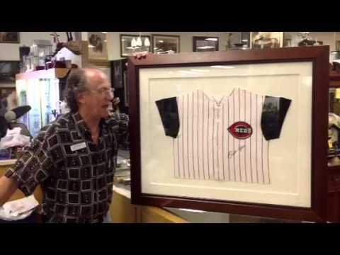 Vintage sports memorabilia, Pete Rose autographed authentic Cincinnati Reds baseball jersey.