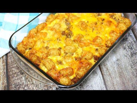 Breakfast Casserole - Tator Tot Sausage Breakfast Casserole