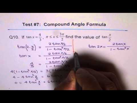 Explore Half and Double Angle Formula in tan  Test Q10