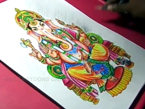 How to Draw LORD GANESHA COLOR DRAWING Step by Step for Kids