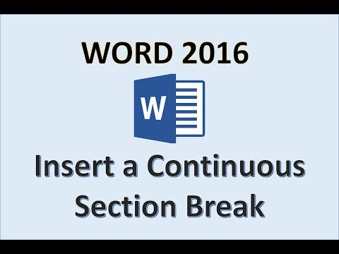 Word 2016 - Continuous Section Break - How To Insert a Continuous Section Break on Page in MS Office