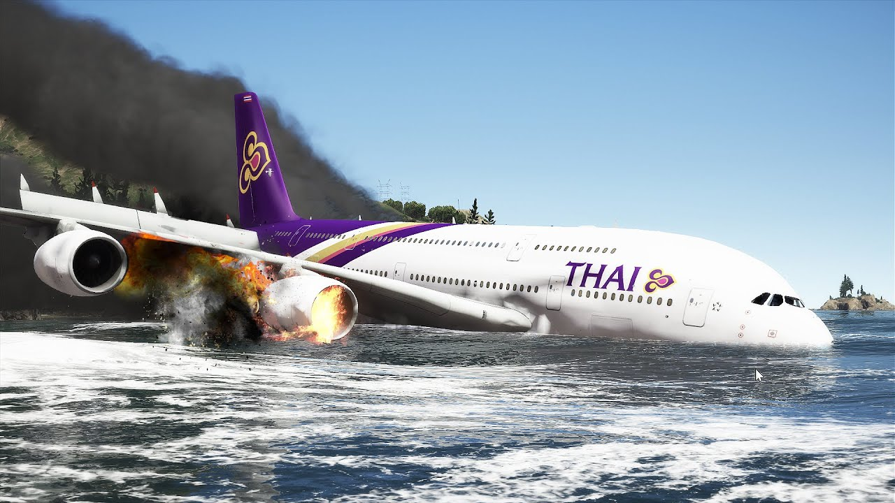 A380 Emergency Landing On Water With Exploded Engines | GTA 5