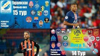 Футбол.Чемпионат Франции 14 тур (ЛИГА 1) Чемпионат Украины 15 тур (УПЛ) Результаты Таблица
