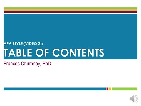 APA Style: Table Of Contents (Screencast)