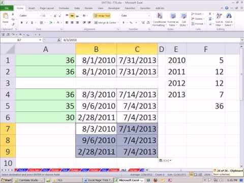 Excel Magic Trick 767: Count Months from Start and End Date