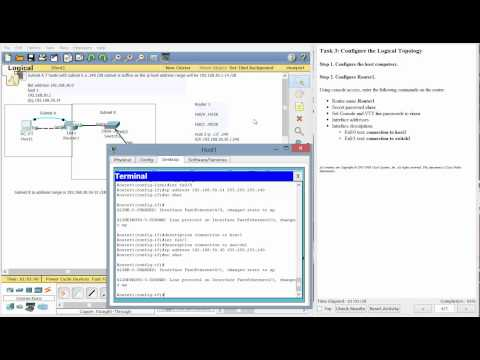 CCNA setting up a router through console port and telnet connection Packet tracer labs