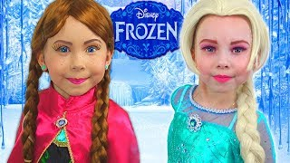 Frozen Elsa And Anna Kids Makeup with Colors Paints Pretend Play - GIANT DOLL & DRESS UP Collection