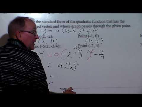 Quadratics Write a quadratic in standard form given two points
