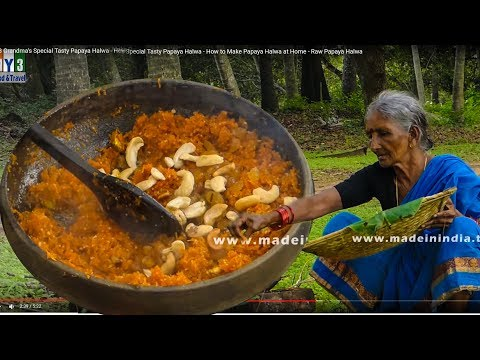 Grandma's Making Tasty Papaya Halwa - How to Make Papaya Halwa at Home - Raw Papaya Halwa