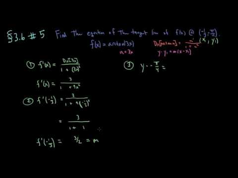 Section 3.6 - Exercise 5 - Finding the equation of a tangent line when with an inverse trig function
