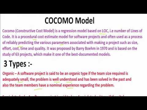 COCOMO Model ( Constructive Cost Estimation Model) | Software Engineering