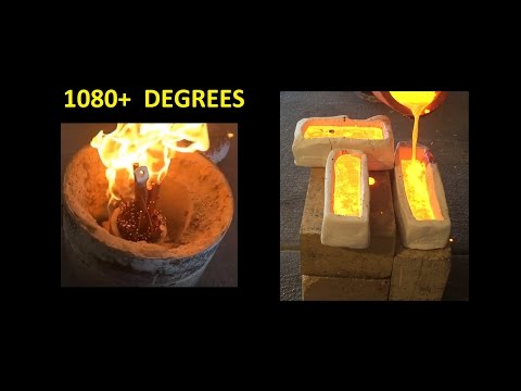 MOLTEN COPPER INTO CLAY MOLDS MELTING COPPER AND POURING INTO CLAY MOLDS