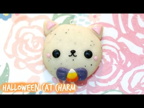 Polymer Clay Halloween Cat Mirror Charm Tutorial