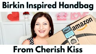 8a792a9e9e0 Hermes Birkin Inspired Handbag Dupe by Cherish Kiss from Amazon Unboxing  First Reaction