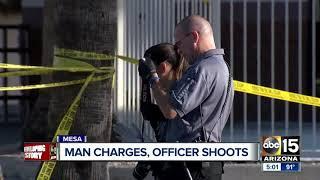 Man shot after charging Mesa police officers