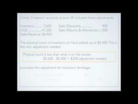 Merchandising: Closing accounts; Adjusting accounts; Inventory Shrinkage - Accounting video