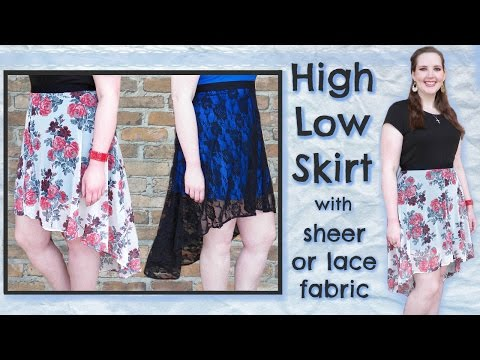 DIY High Low Skirt | Elastic Waist, Lining + Stretch Lace Fabric | How to Sew a Skater Skirt