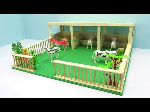 How to Make Popsicle Stick Farm House - Popsicle Stick House and Garden