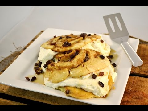 Cinnamon Roll Raisin Pancake Recipe - Whipped Cream Cheese Frosting | RadaCutlery.com