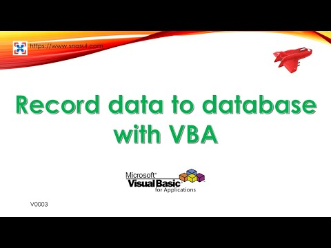Record data to database with VBA