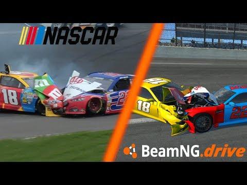 Reenacting NASCAR Crashes in BeamNG.Drive Soft Body Physics (Real Life vs BeamNG)