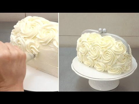 Handbag Buttercream Cake - Piping Buttercream Roses