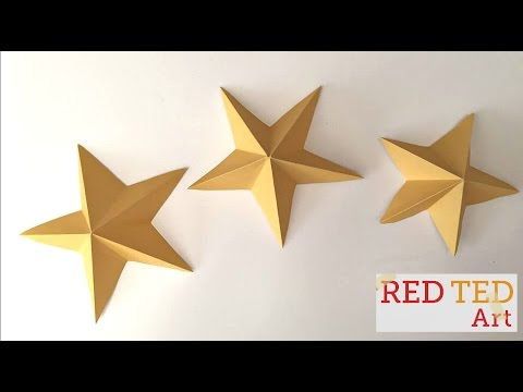 Easy 3D Paper Stars (Kirigami) - Christmas Crafts, New Year's Crafts & Party Decor Idea