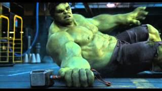 Hulk trying to lift Thor