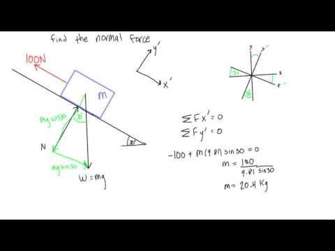 How to calculate normal force on a slope (statics)