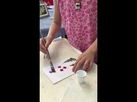 Children Make Pressed Flower Card At Show