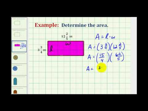 Example:  Determine the Area of a Rectangle Using Mixed Numbers