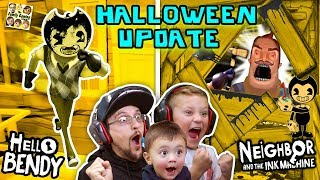 HELLO BENDY + NEIGHBOR & the INK MACHINE Halloween Mod! FGTEEV-ers LETS CELEBRATE! Surprise Gameplay