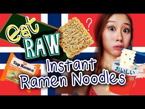Eat Raw Ramen Instant noodles?!! 吃没煮熟的快熟面