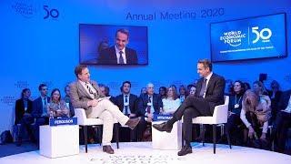 Conversation between Kyriakos Mitsotakis and Niall Ferguson during the World Economic Forum in Davos