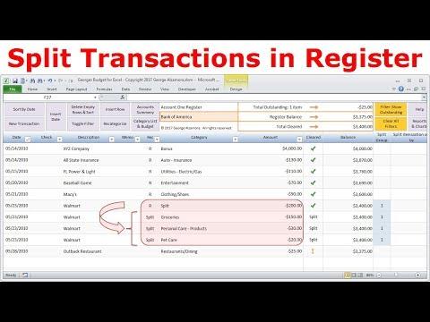 Split transactions into different categories in Excel checkbook register - How to split transaction.
