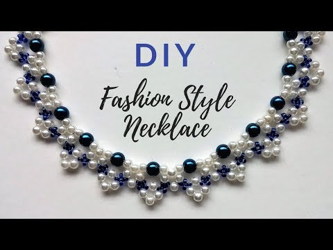 How to make pearl beaded necklace. Create a beautiful necklace for an elegant outfit