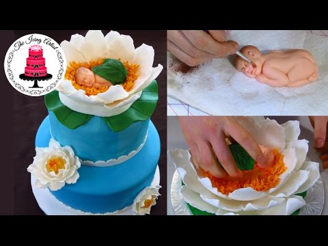 Elegant Water Lily Baby Shower Cake - How To With The Icing Artist