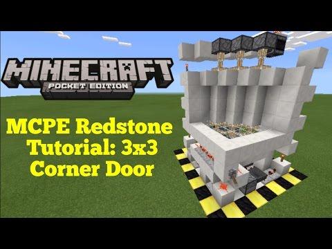 Minecraft Pocket Edition Redstone Tutorial: 3x3 Corner Piston Door (MCPE 1.1.0)