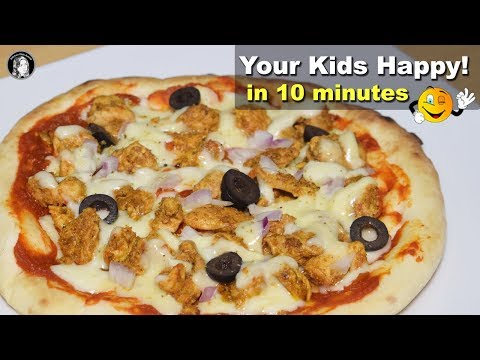 Naan Pizza (Without Oven) - Chicken Tikka Naan Pizza Recipe - Kitchen With Amna